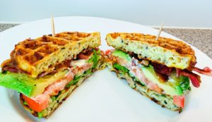 keto avocado blt chaffle sandwich