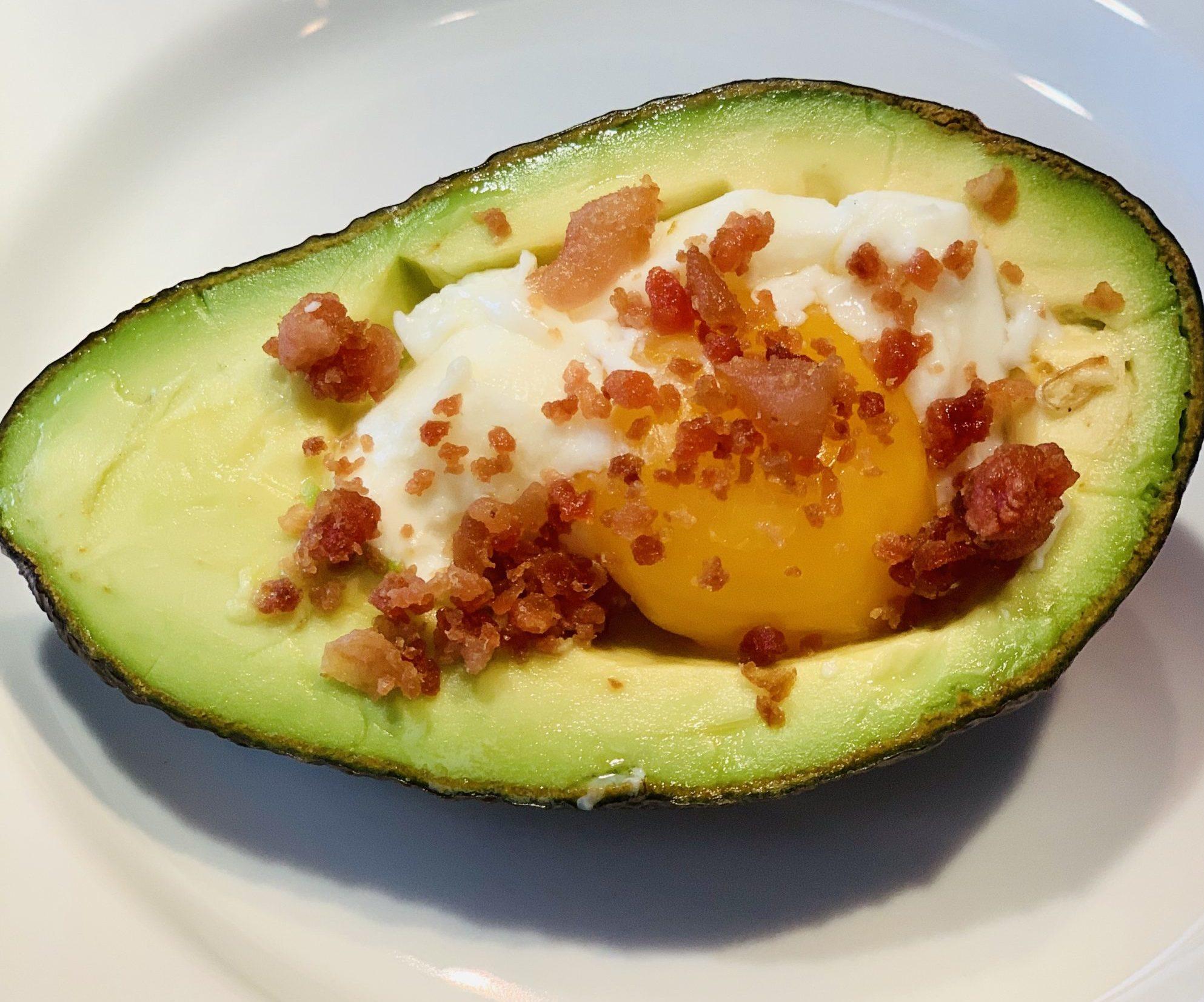 Keto Poached Egg Avocado & Bacon